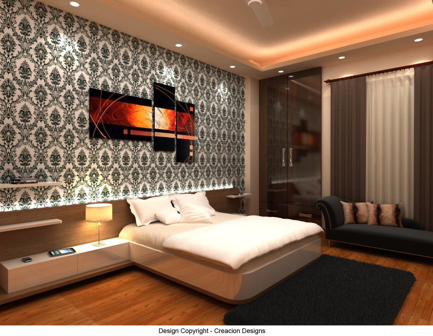 Bedroom With Modern Wall Art by Deepanshu Prasad Bedroom Contemporary | Interior Design Photos & Ideas
