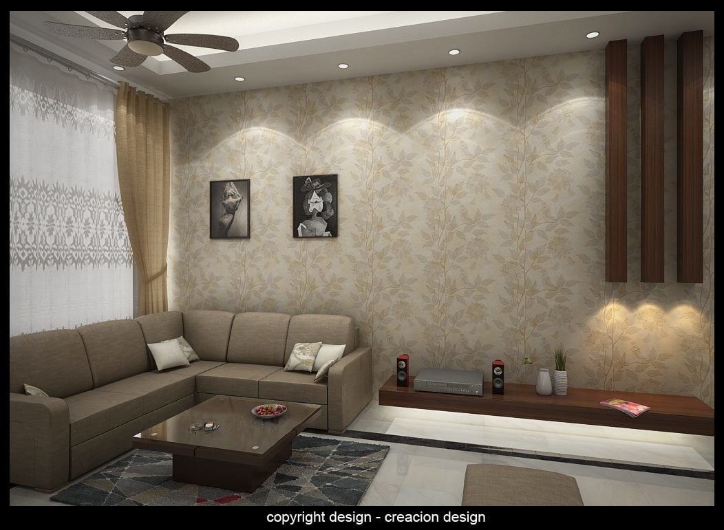Living Room With Modern False Ceiling by Deepanshu Prasad Living-room Modern | Interior Design Photos & Ideas