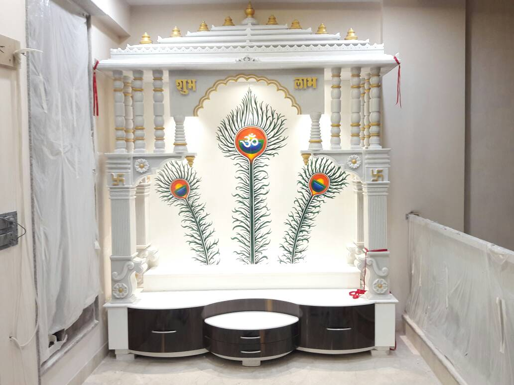 Prayer room with abstract white design by Vishal Arora Modern | Interior Design Photos & Ideas