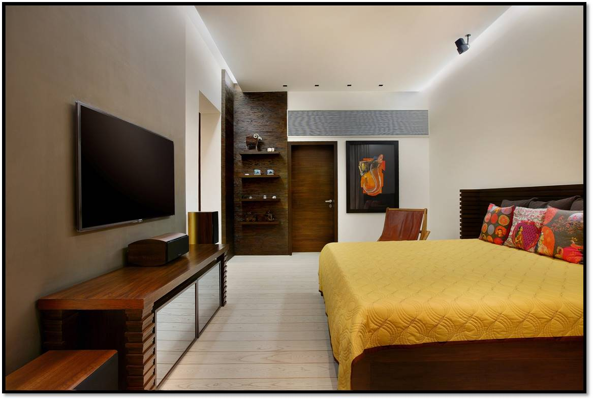 Dark Walnut Wooden Bed And Television Cabinet by Torn Born Bedroom Contemporary   Interior Design Photos & Ideas