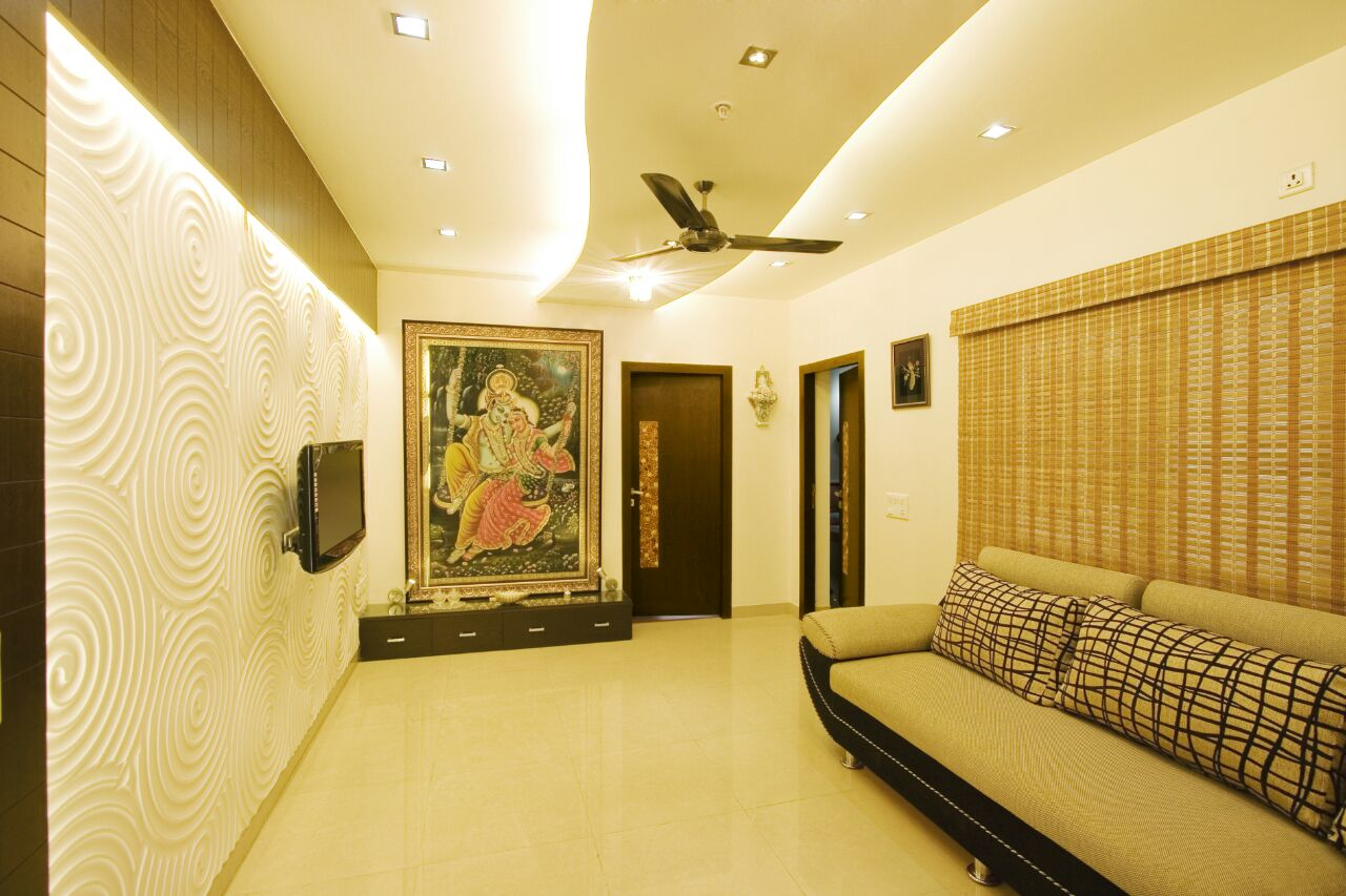 Detailed Wall Art And Textured Sofa In this Stunning Living Room by Yogendra Garg Living-room Contemporary   Interior Design Photos & Ideas