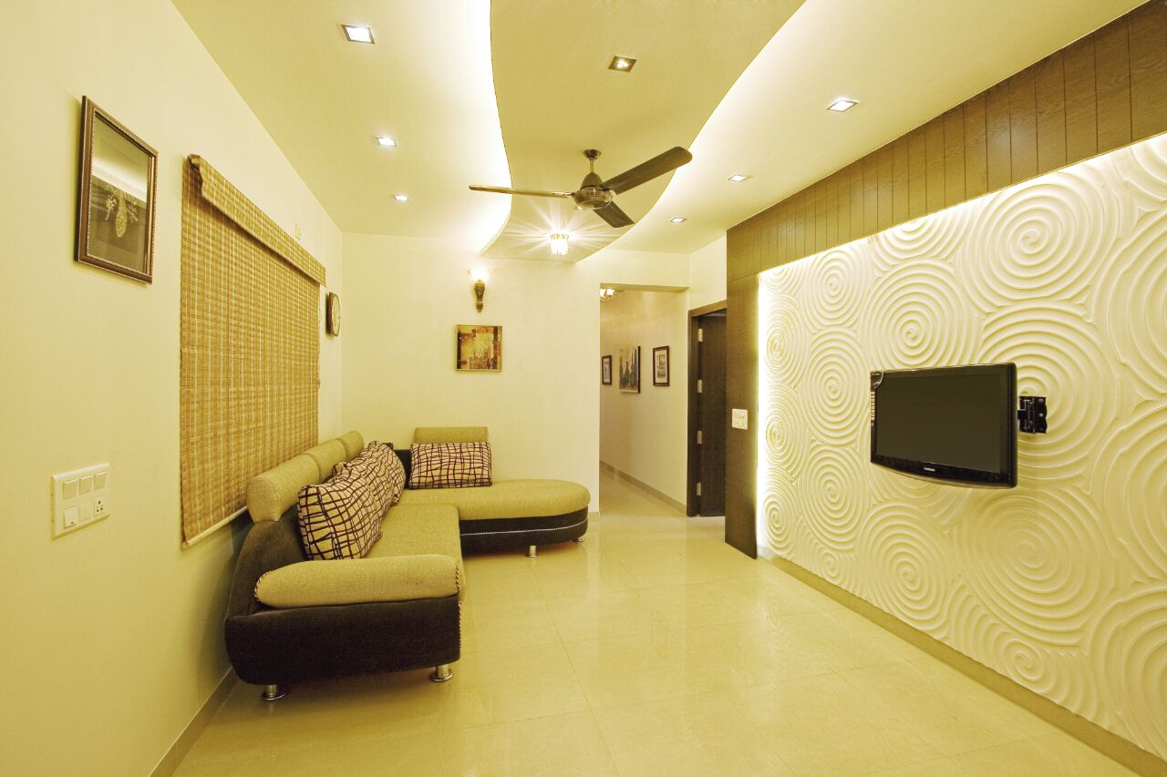 Patterned Wall with TV unit In Living Room by Yogendra Garg Living-room Contemporary | Interior Design Photos & Ideas