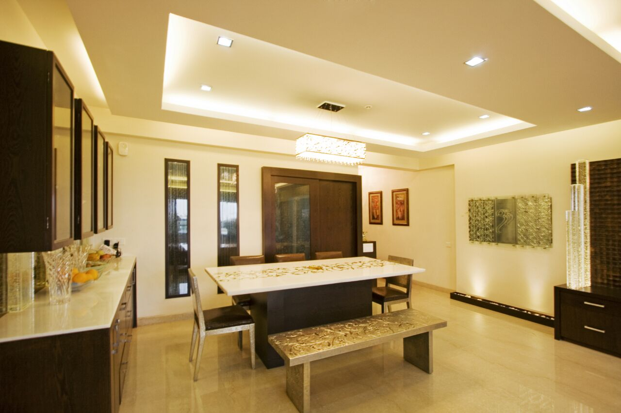 Golden Work On Dining Table And Chairs by Yogendra Garg Dining-room Contemporary | Interior Design Photos & Ideas