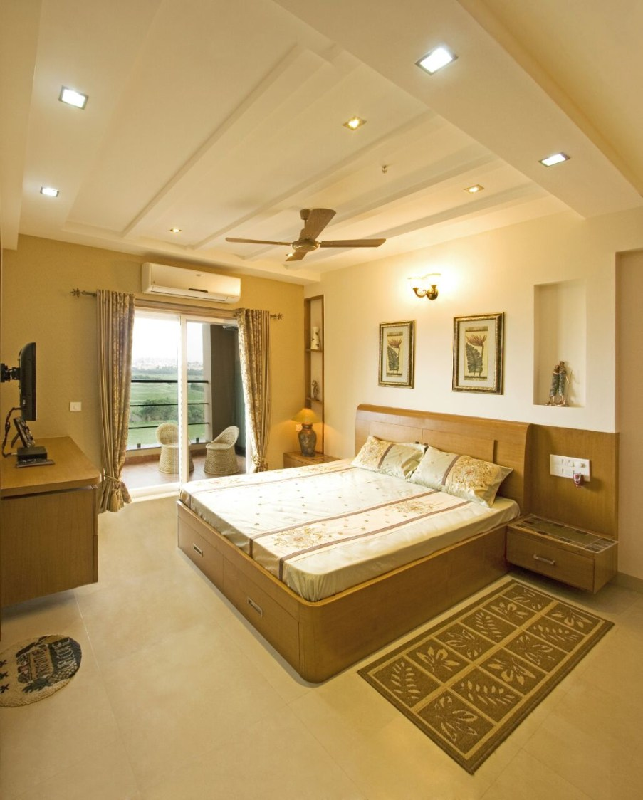 Beige Colored Master Bedroom With King Size Bed and False Ceiling by Yogendra Garg Bedroom Contemporary | Interior Design Photos & Ideas