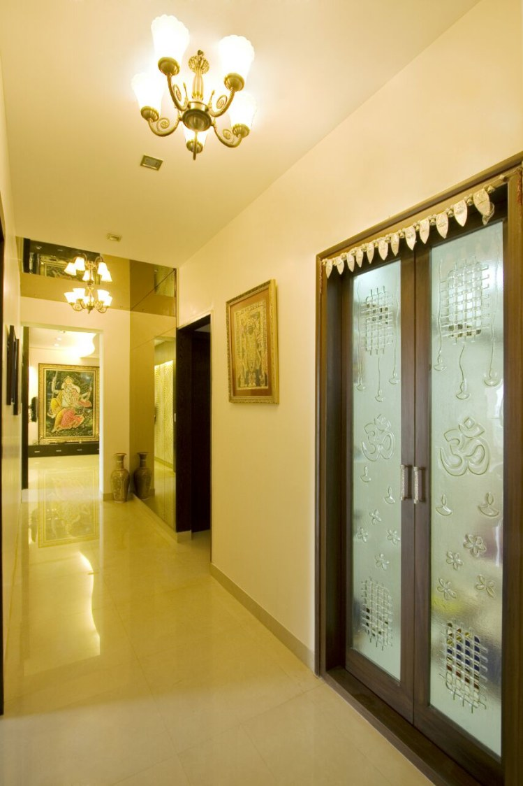 Pale Lighting In Narrow Hallway with Traditional Chandelier by Yogendra Garg Indoor-spaces Contemporary | Interior Design Photos & Ideas