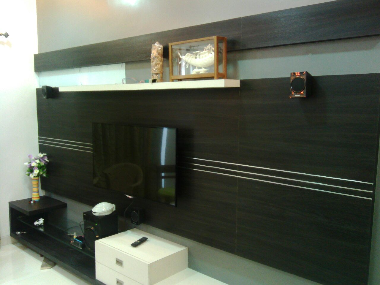 Black TV Unit by Amith Kumar Living-room Contemporary | Interior Design Photos & Ideas