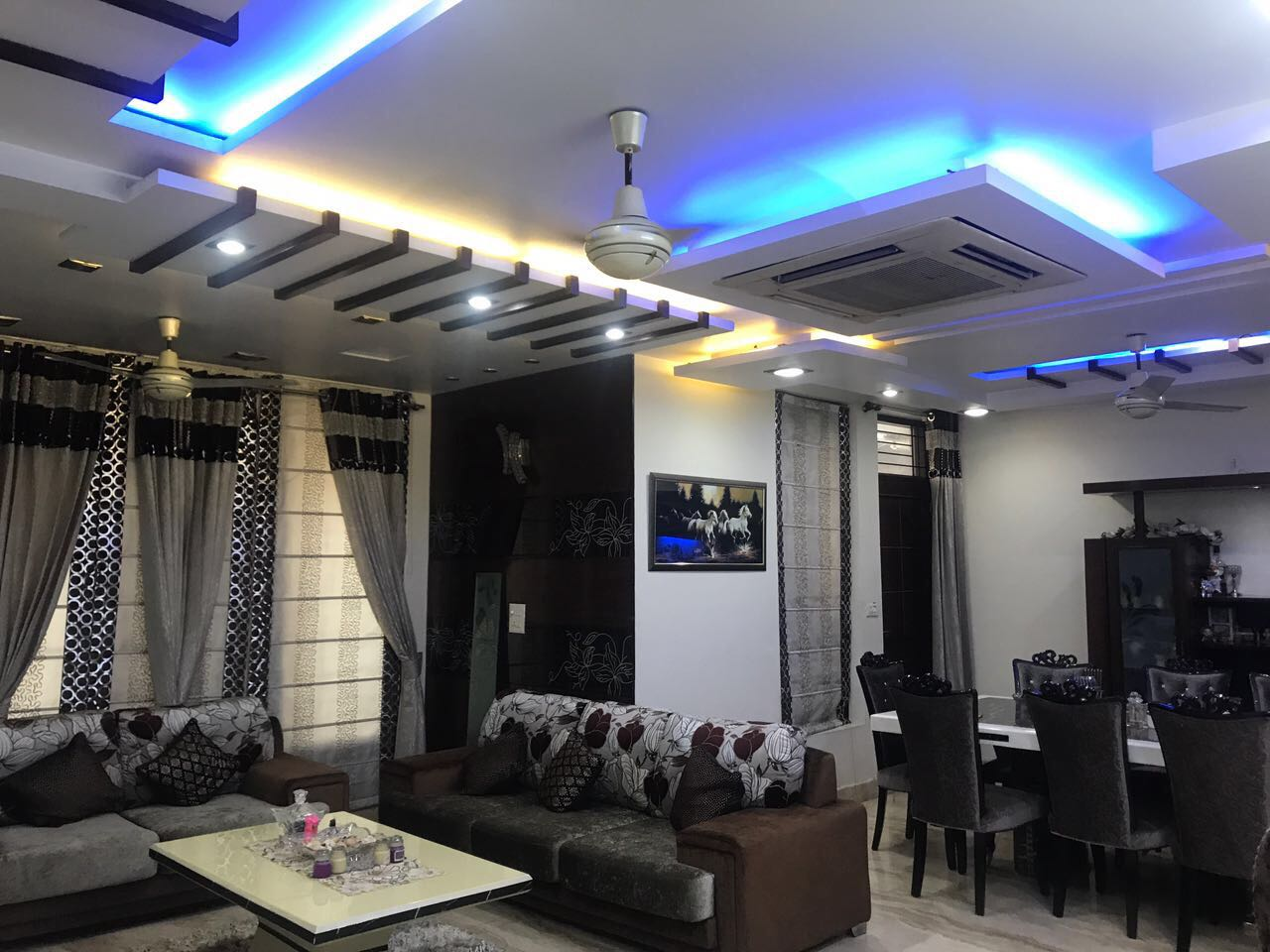 Living Room WithBlue Lighting by Shriya Sabharwal Living-room Contemporary | Interior Design Photos & Ideas