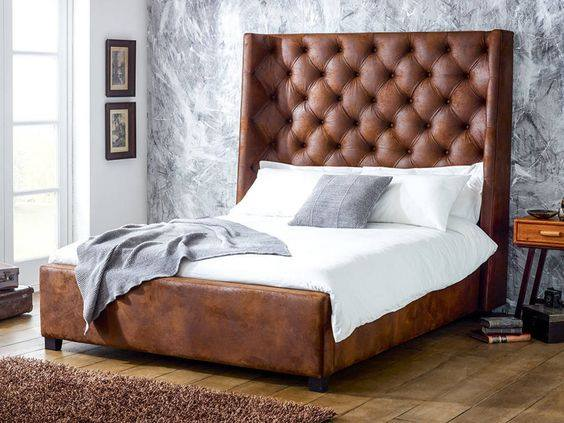 Brown Leather Upholstered Bed and Wooden Vinyl Floor by Manvi Jain Bedroom Modern | Interior Design Photos & Ideas