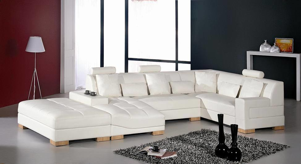 White Themed Living Room White Leather Bridgewater Sofa and Soft rug by Manvi Jain Living-room Modern | Interior Design Photos & Ideas