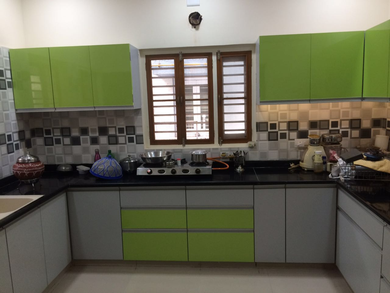 Olive Green And Grey Themed Modular Kitchen by Nirav Gor Modular-kitchen | Interior Design Photos & Ideas