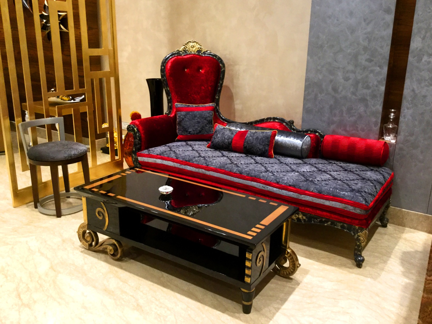 Luxurious Red and Grey Velvet Camel Back Sofa with Black Glossy Table by Sumita Mehra Living-room Eclectic   Interior Design Photos & Ideas