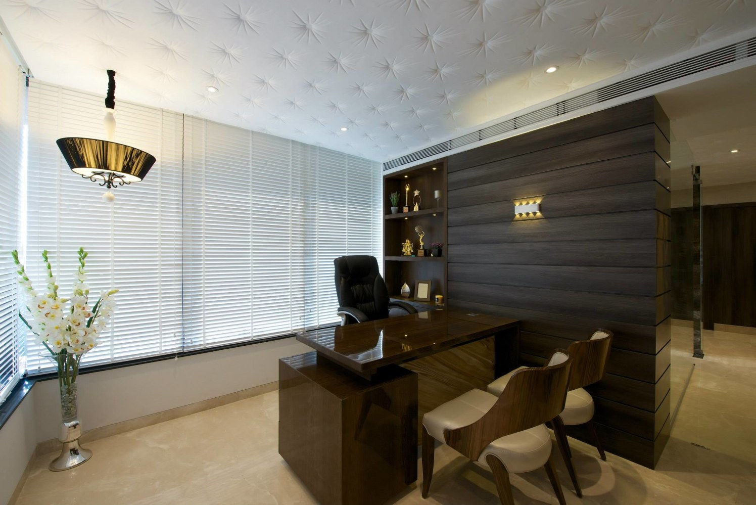 Cellular office with wooden desk and chair with false ceiling by Rohit Gir Contemporary | Interior Design Photos & Ideas