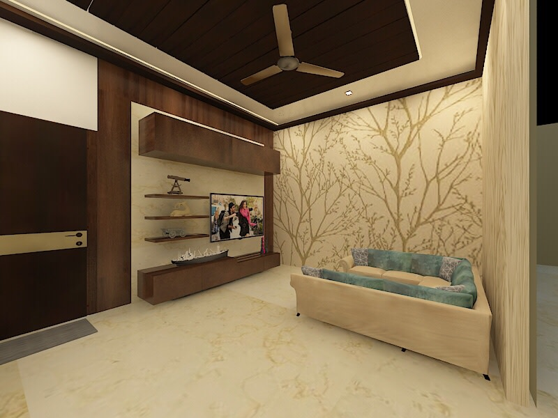 3D model of a wood themed living room with beige U shaped sectional sofa, hardwood entertainment center and a wooden paneled fake ceiling by Chaitanya Challa Living-room Modern | Interior Design Photos & Ideas