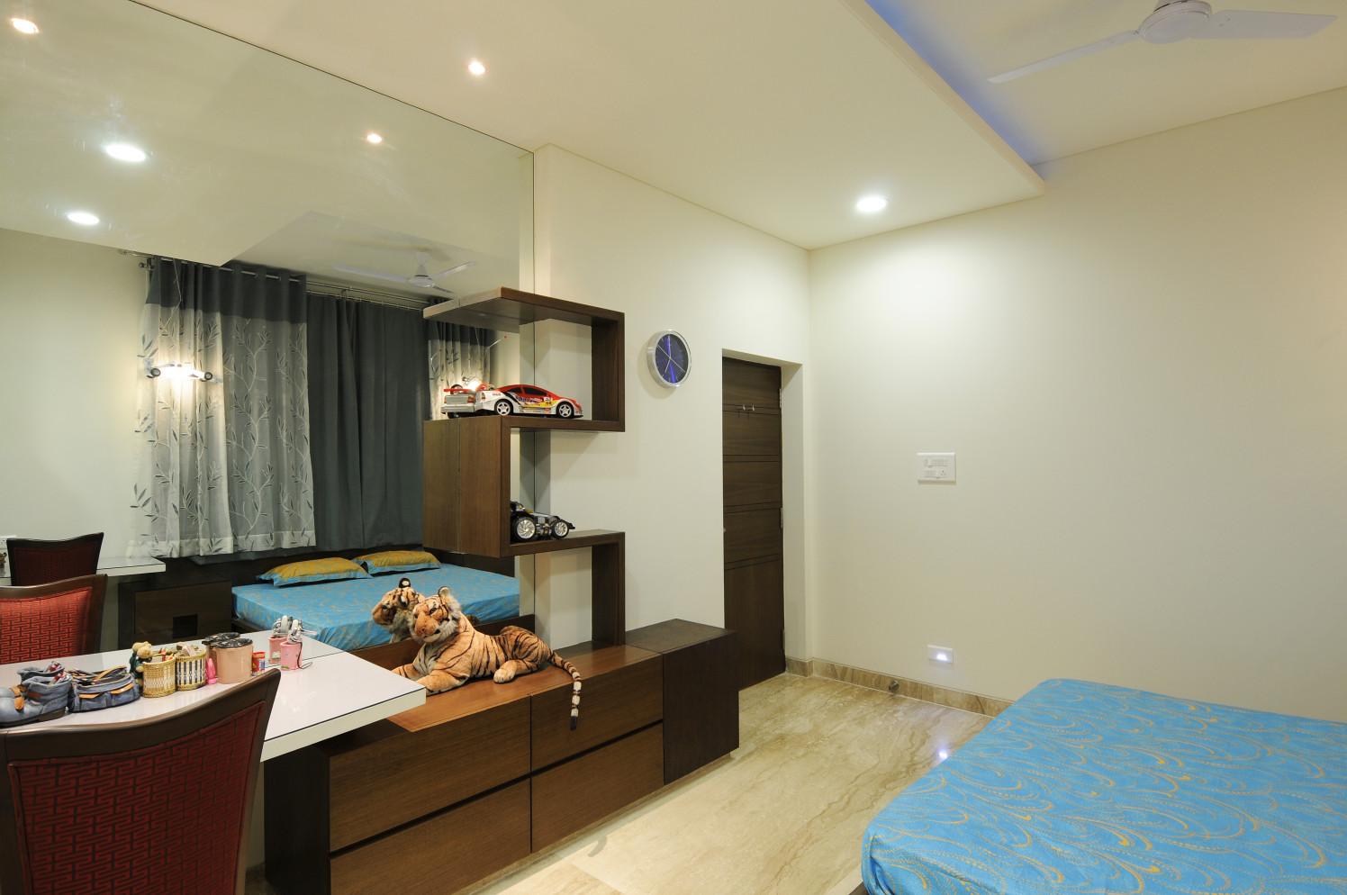 Bedroom With Pale Shade Interior by Nandigam Harish Bedroom Modern | Interior Design Photos & Ideas