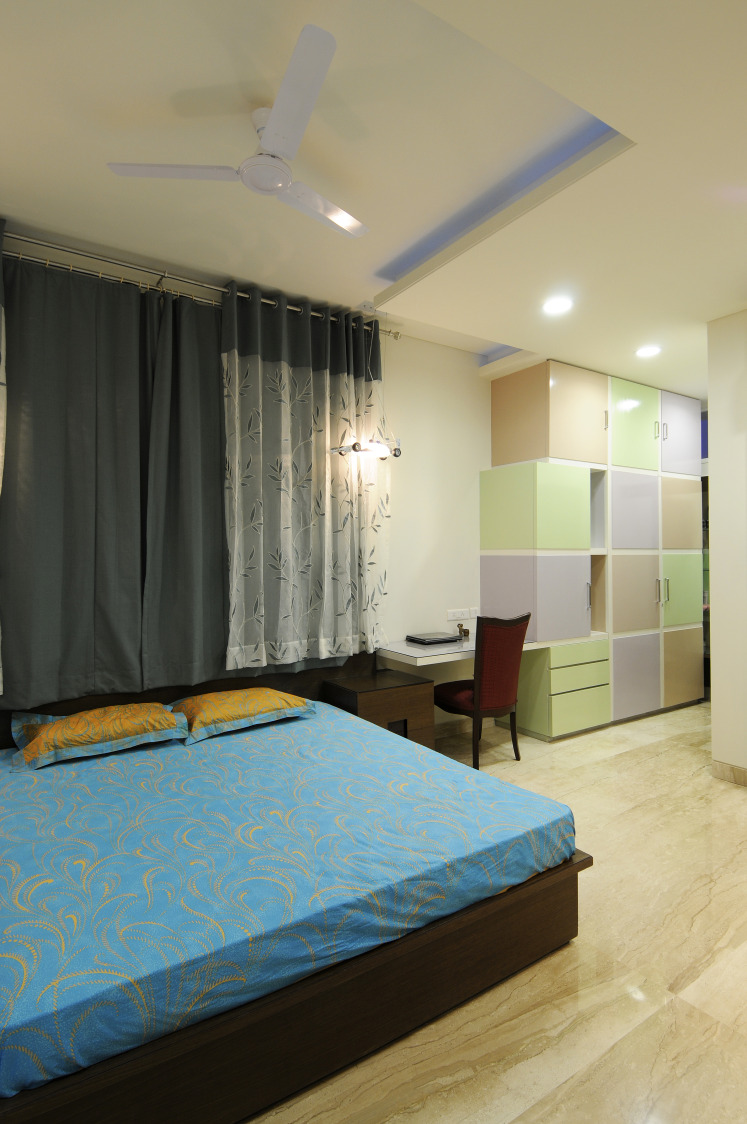 Bedroom With Colorful Cabinets by Nandigam Harish Bedroom Modern | Interior Design Photos & Ideas