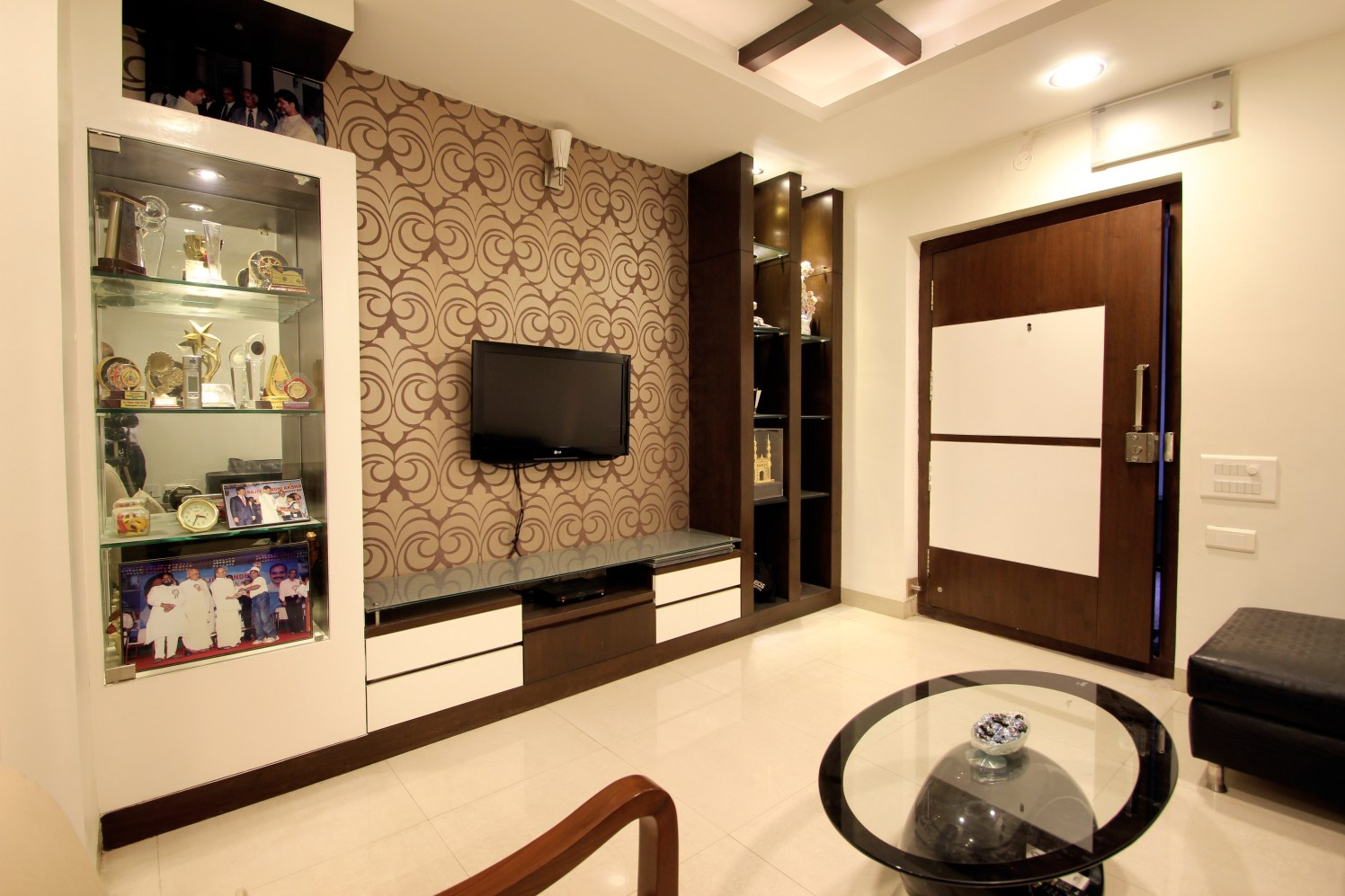 Living Room With TV Unit And Wall Art by Nandigam Harish Living-room Modern | Interior Design Photos & Ideas