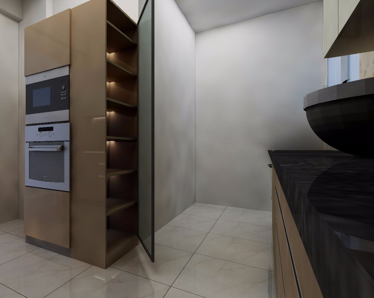 Gadget equipped Kitchen Cabinets by Shwetha Modern | Interior Design Photos & Ideas
