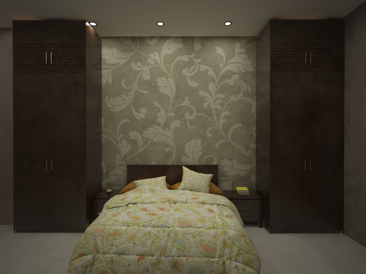 Bedroom with wooden wardrobe and wall decor by Richa Jindal Bedroom Modern | Interior Design Photos & Ideas