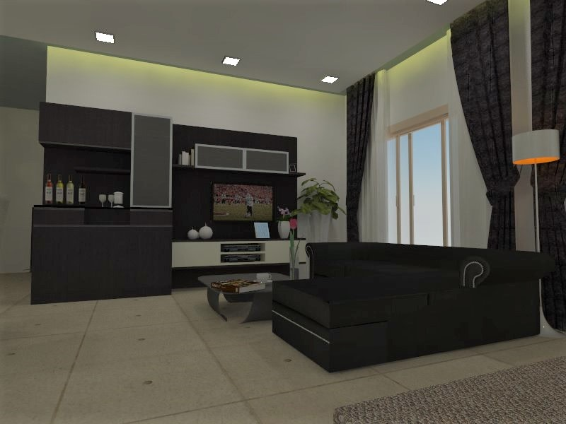 L shape dark brown sofa with modern display unit  and marble flooring by Richa Jindal Living-room Modern | Interior Design Photos & Ideas