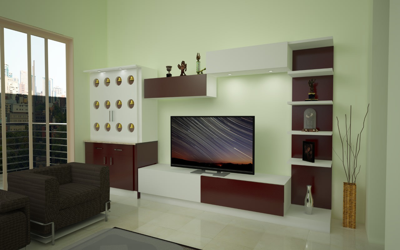 Living space with  modern display unit tv unit  and brown sofa by Richa Jindal Living-room Minimalistic | Interior Design Photos & Ideas