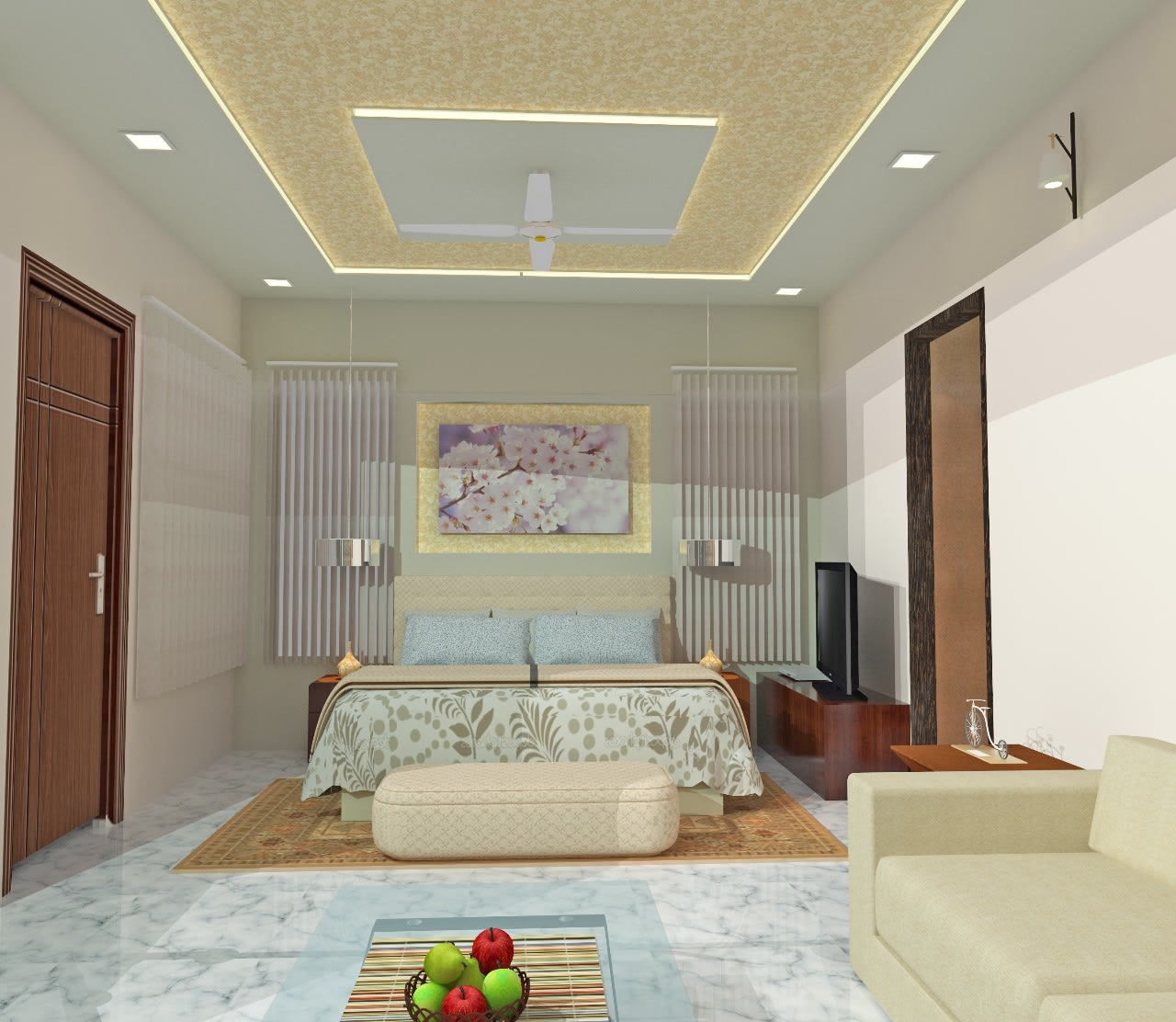 Design of a white themed bedroom with false ceiling and king sized bed by Mohammed Nazim Bedroom Contemporary | Interior Design Photos & Ideas