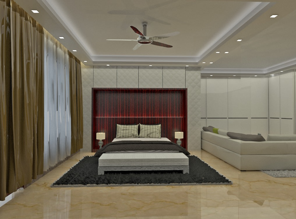 Design of a bedroom with read head side wall and false ceiling by Mohammed Nazim Bedroom Modern | Interior Design Photos & Ideas