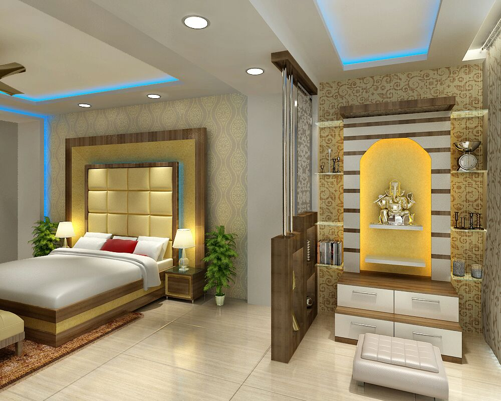 Bedroom with prayer room by Jaideep Mandal Open-spaces Contemporary | Interior Design Photos & Ideas