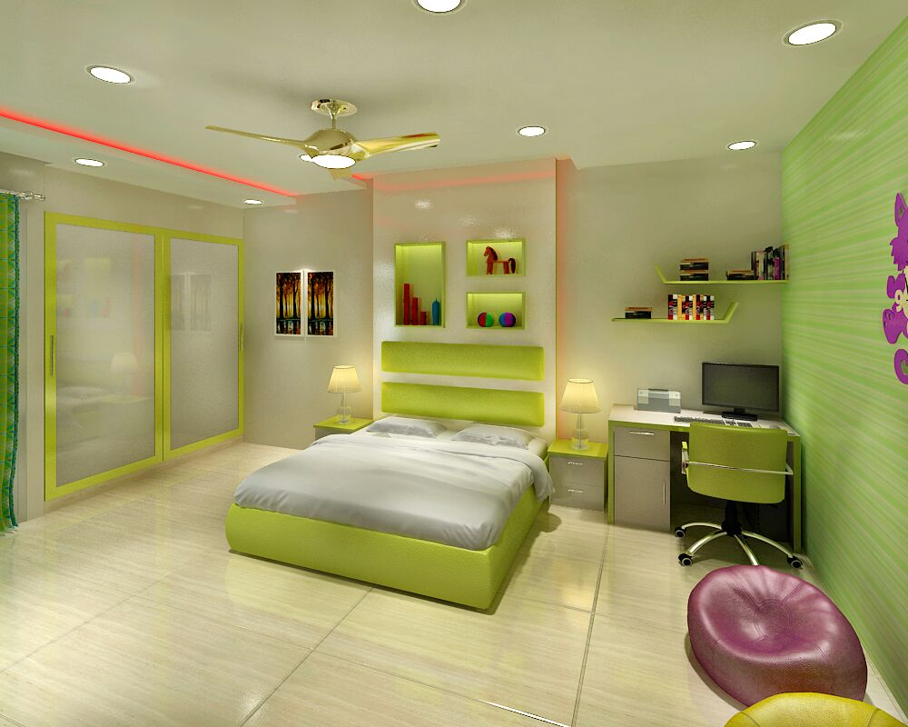 Green themed bedroom by Jaideep Mandal Bedroom Modern | Interior Design Photos & Ideas
