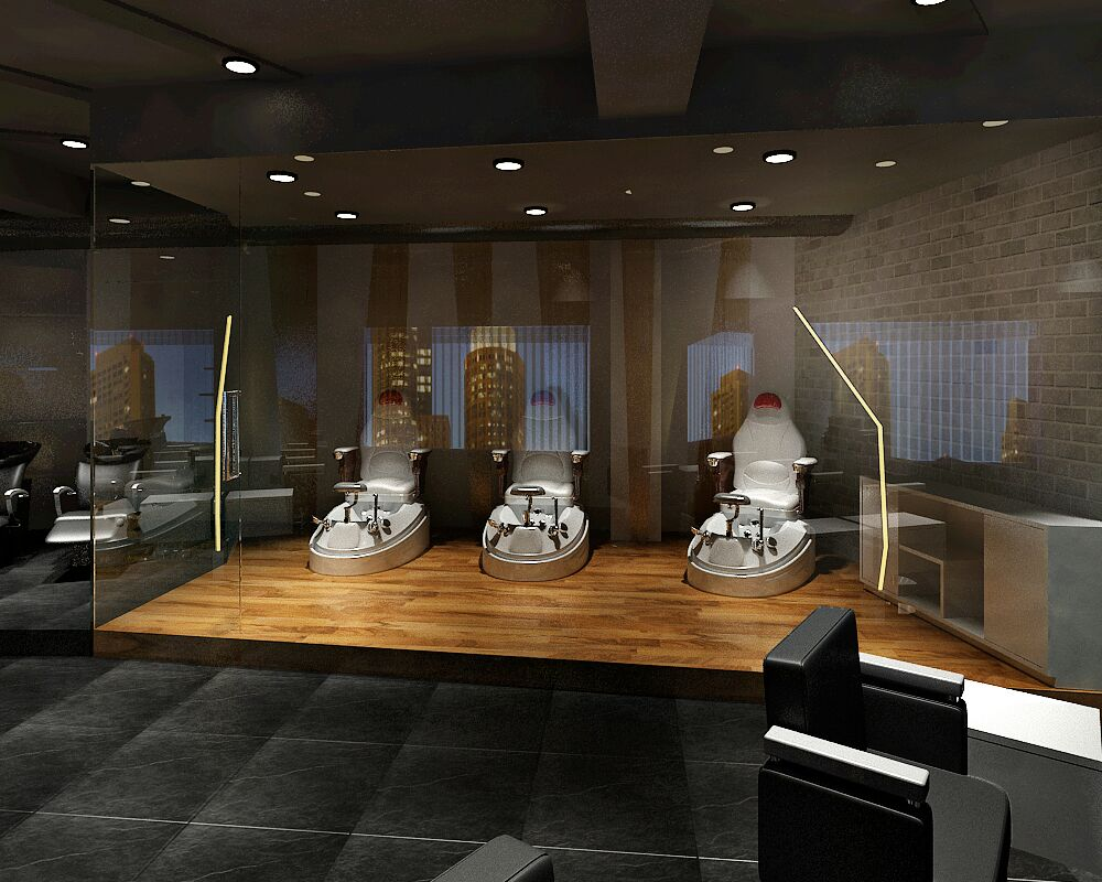 Mani pedi room with a glass wall by Jaideep Mandal Modern | Interior Design Photos & Ideas