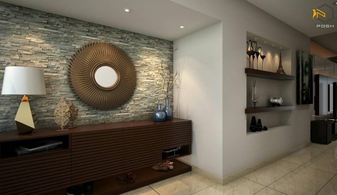 Contemporary hallway with marble flooring by Priyanka Rai Indoor-spaces Contemporary | Interior Design Photos & Ideas