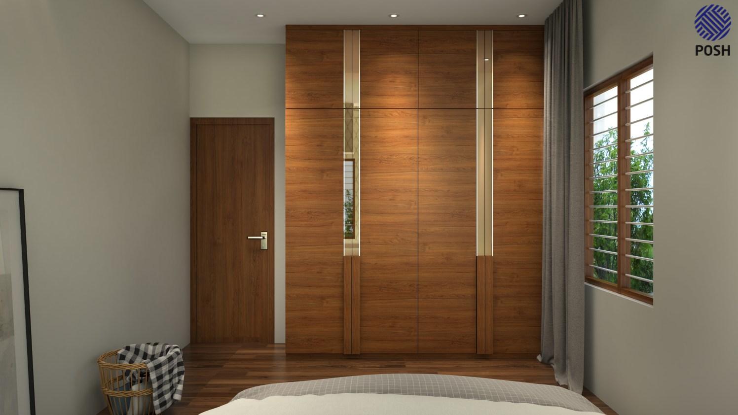 Contemporary wooden wardrobe by Priyanka Rai Bedroom Contemporary | Interior Design Photos & Ideas