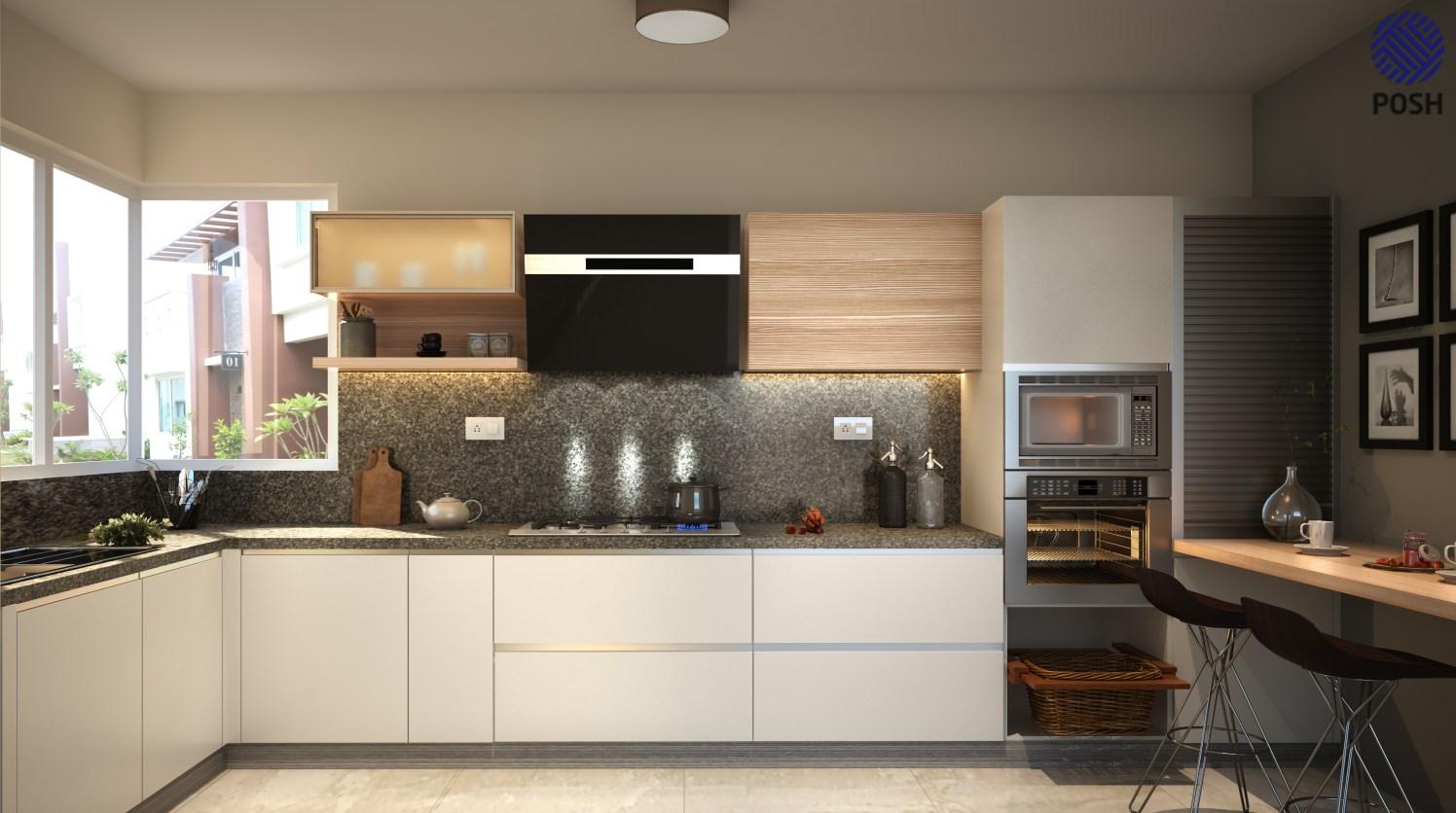 Modern modular L shaped kitchen by Priyanka Rai Modular-kitchen Modern | Interior Design Photos & Ideas