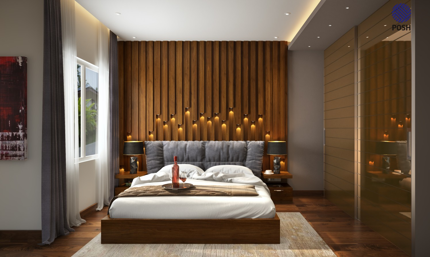 Contemporary bedroom with wooden flooring by Priyanka Rai Bedroom Contemporary | Interior Design Photos & Ideas