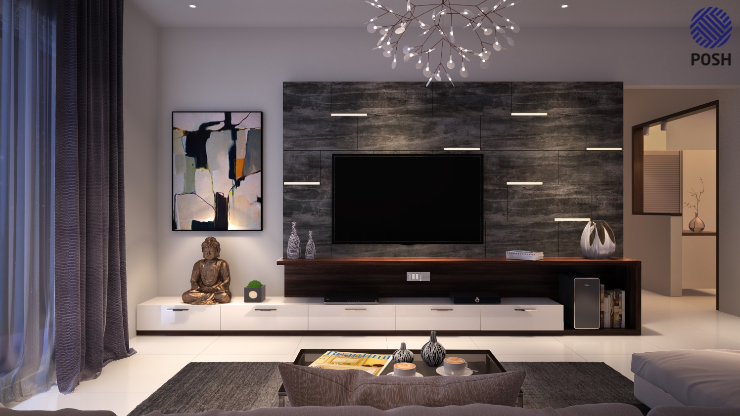 Contemporary living room with tv unit by Priyanka Rai Living-room Contemporary | Interior Design Photos & Ideas