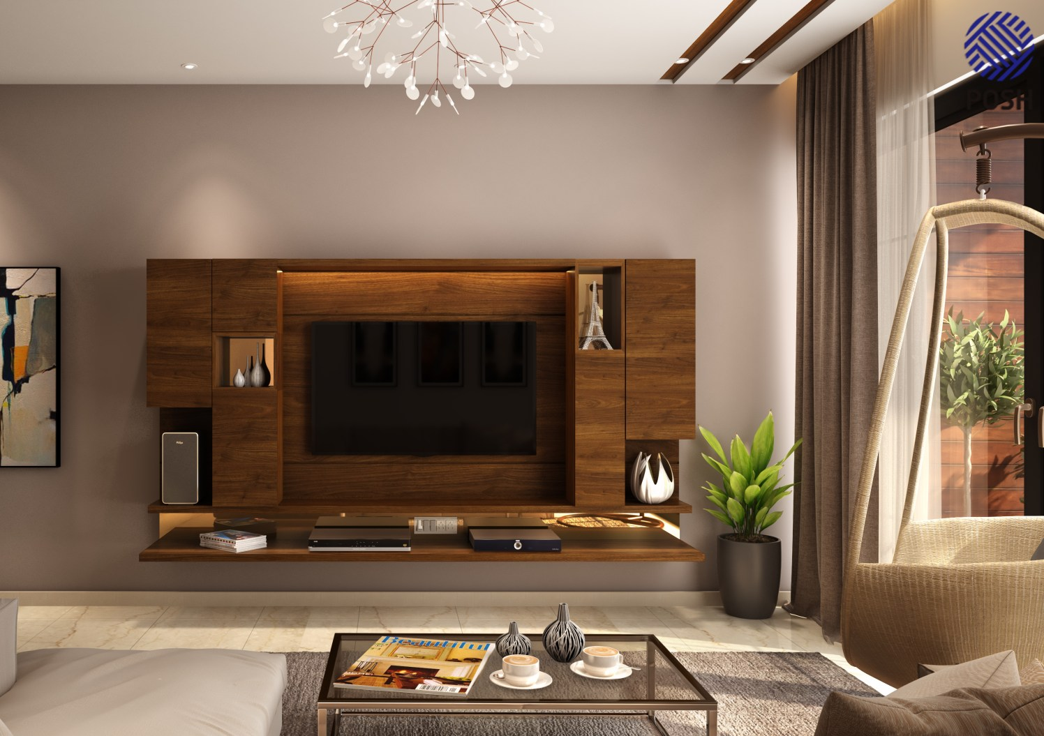 Contemporary living room with wooden tv cabinet by Priyanka Rai Living-room Contemporary | Interior Design Photos & Ideas