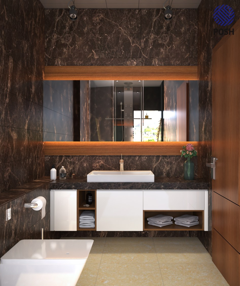 Modern bathroom with marble flooring by Priyanka Rai Bathroom Modern | Interior Design Photos & Ideas