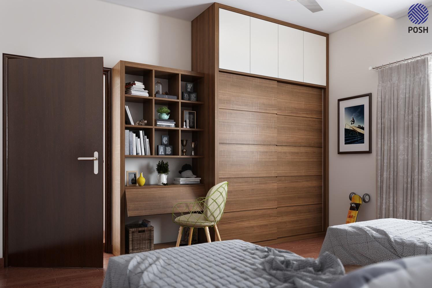 Contemporary kids bedroom with wooden furniture by Priyanka Rai Bedroom Contemporary | Interior Design Photos & Ideas
