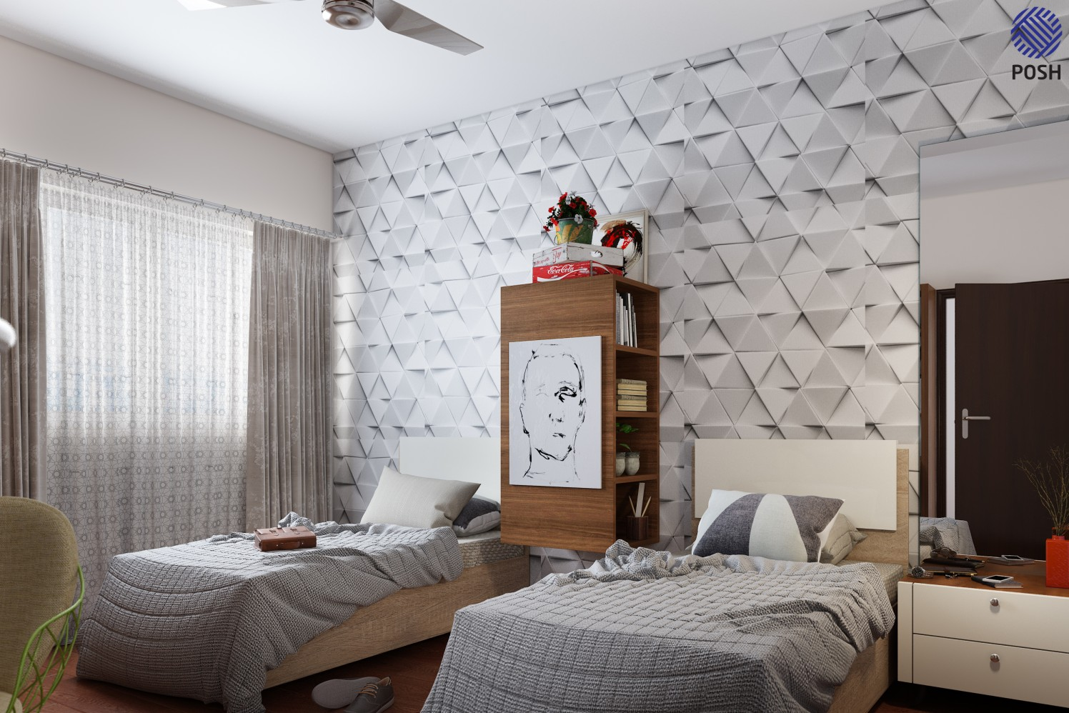 Contemporary bedroom with two single beds by Priyanka Rai Bedroom Contemporary | Interior Design Photos & Ideas