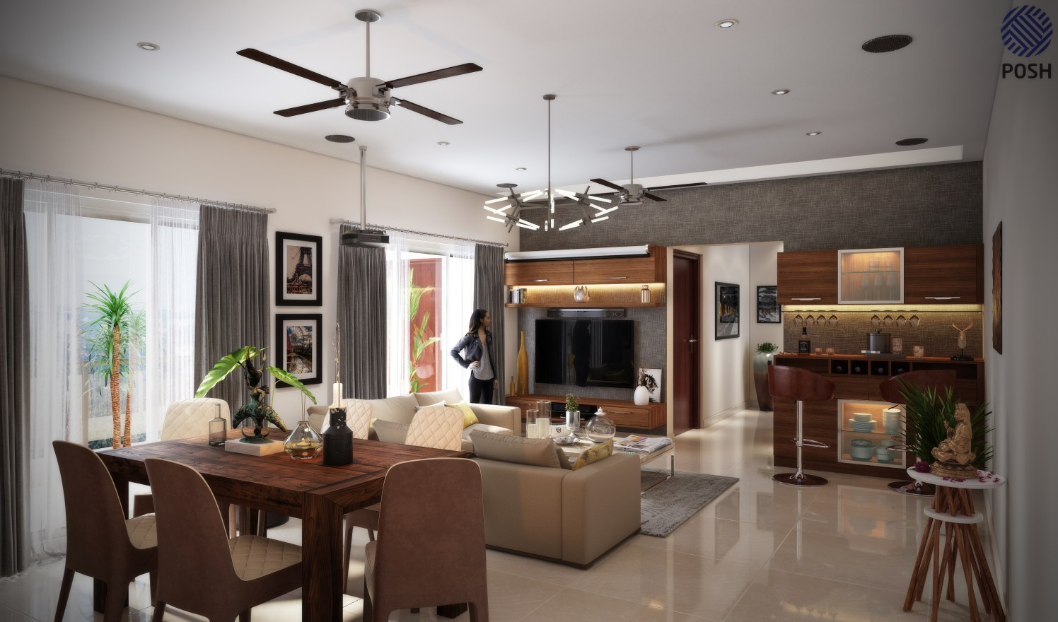 Contemporary living room with marble flooring by Priyanka Rai Living-room Contemporary | Interior Design Photos & Ideas