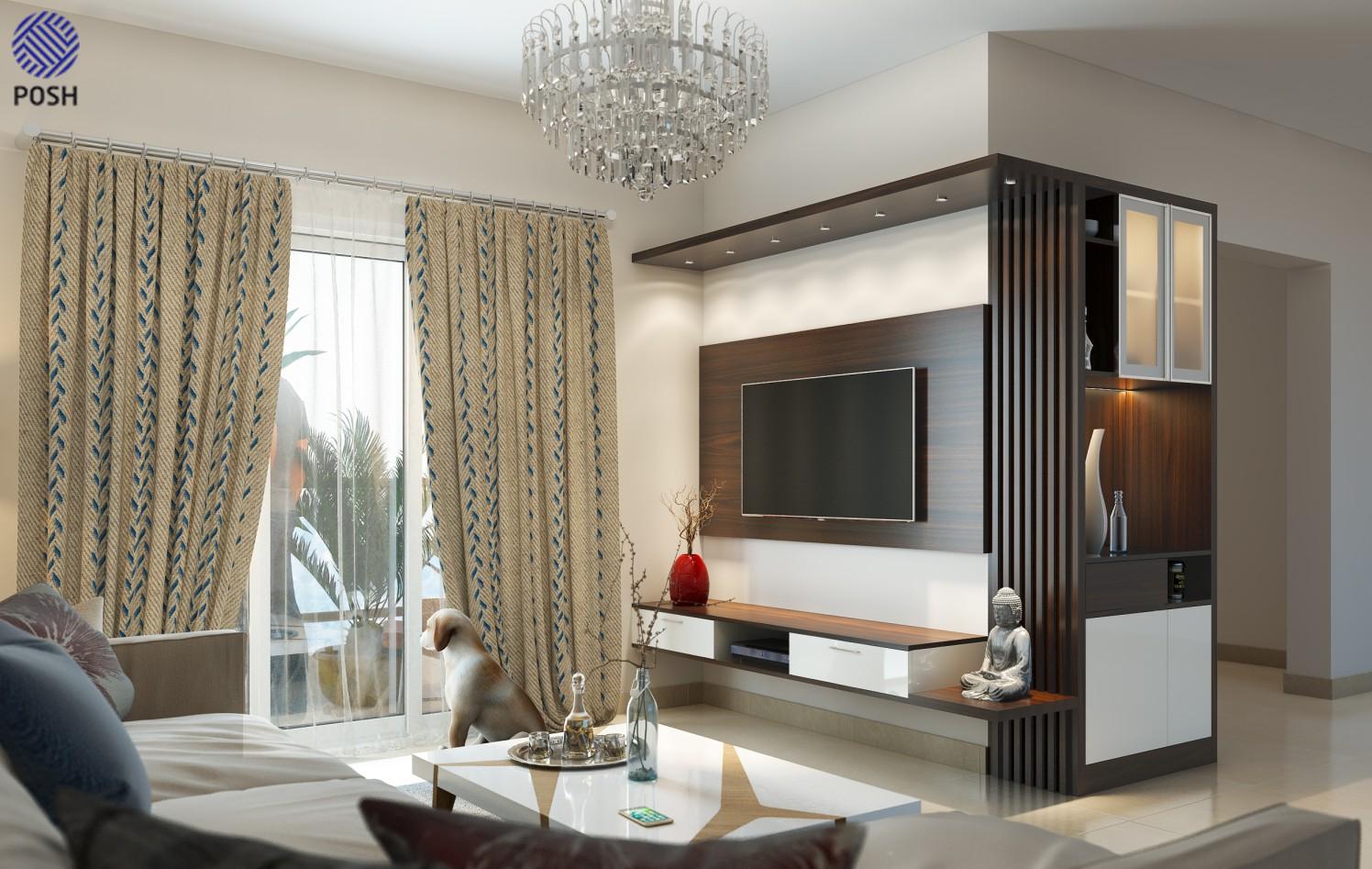 Modern living room with marble flooring by Priyanka Rai Living-room Modern | Interior Design Photos & Ideas