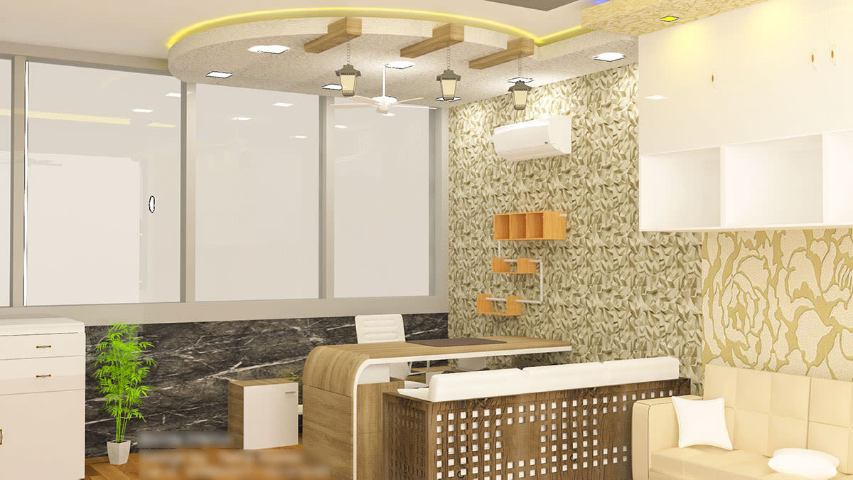 Modern Office Space With Sofa by Talha Naim Momin Modern | Interior Design Photos & Ideas