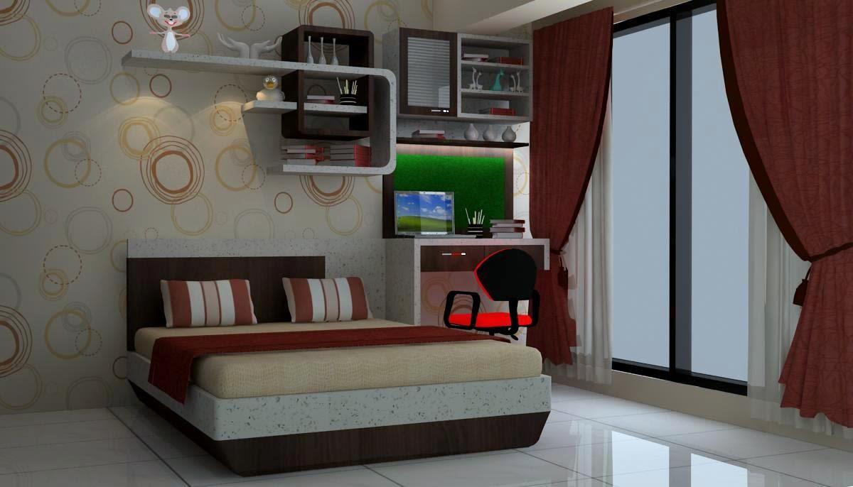 Bedroom with study table by Talha Naim Momin Modern | Interior Design Photos & Ideas