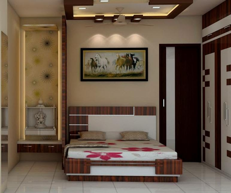 Bedroom with temple by Talha Naim Momin Modern | Interior Design Photos & Ideas
