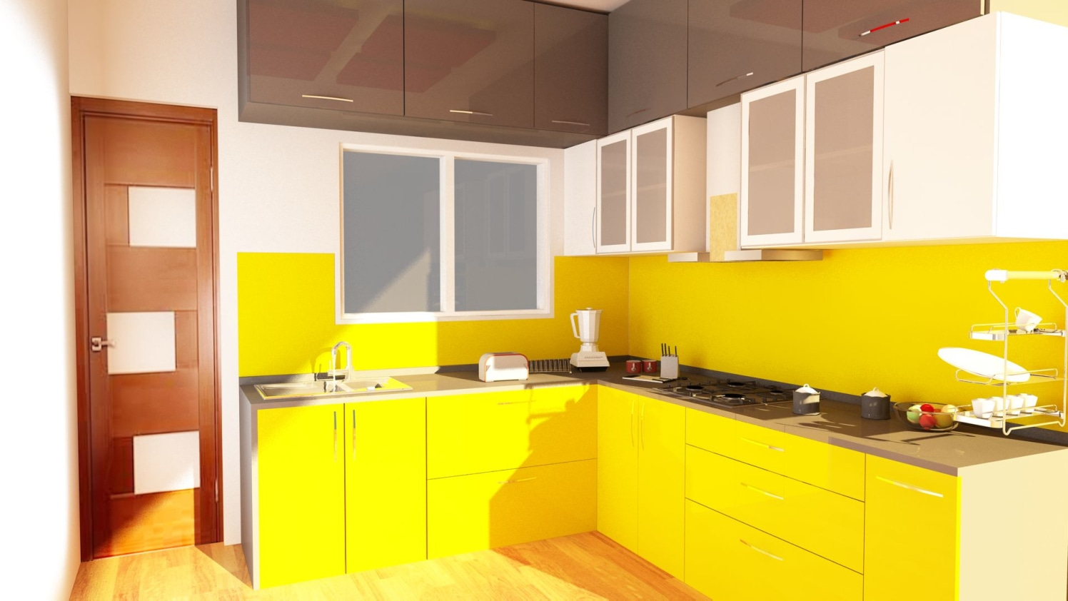 Kitchen with yellow laminates by Talha Naim Momin Modern | Interior Design Photos & Ideas
