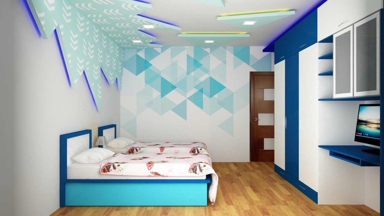 Kids bedroom with decorated walls by Talha Naim Momin Modern | Interior Design Photos & Ideas