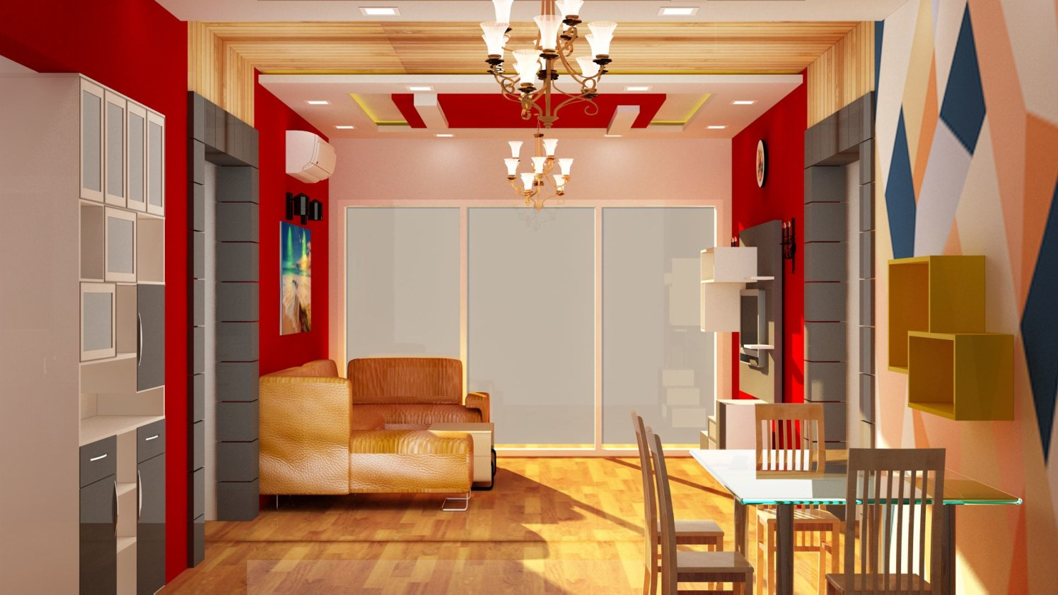 Living room with multi-colored walls by Talha Naim Momin