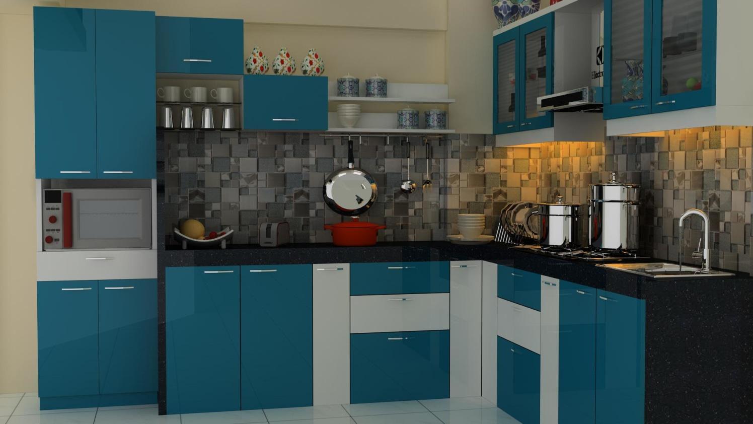 Modern blue kitchen by Talha Naim Momin Modern | Interior Design Photos & Ideas