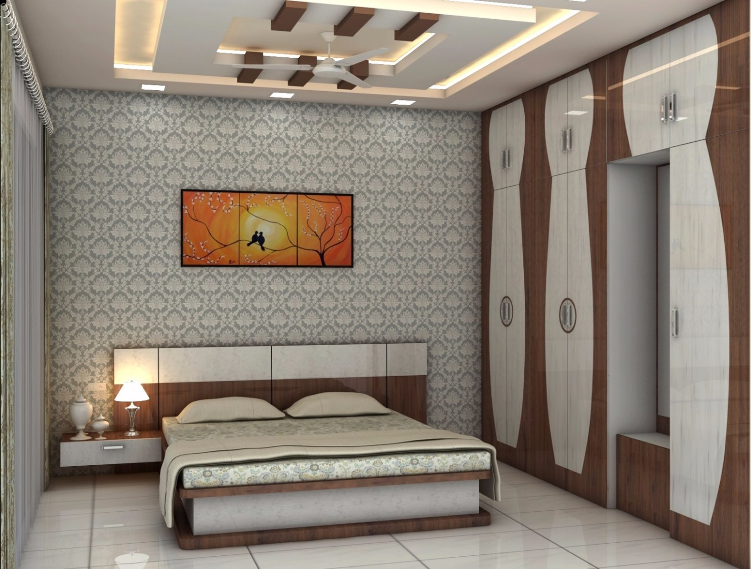 Bedroom with wallpaper and false ceiling by Talha Naim Momin Modern | Interior Design Photos & Ideas