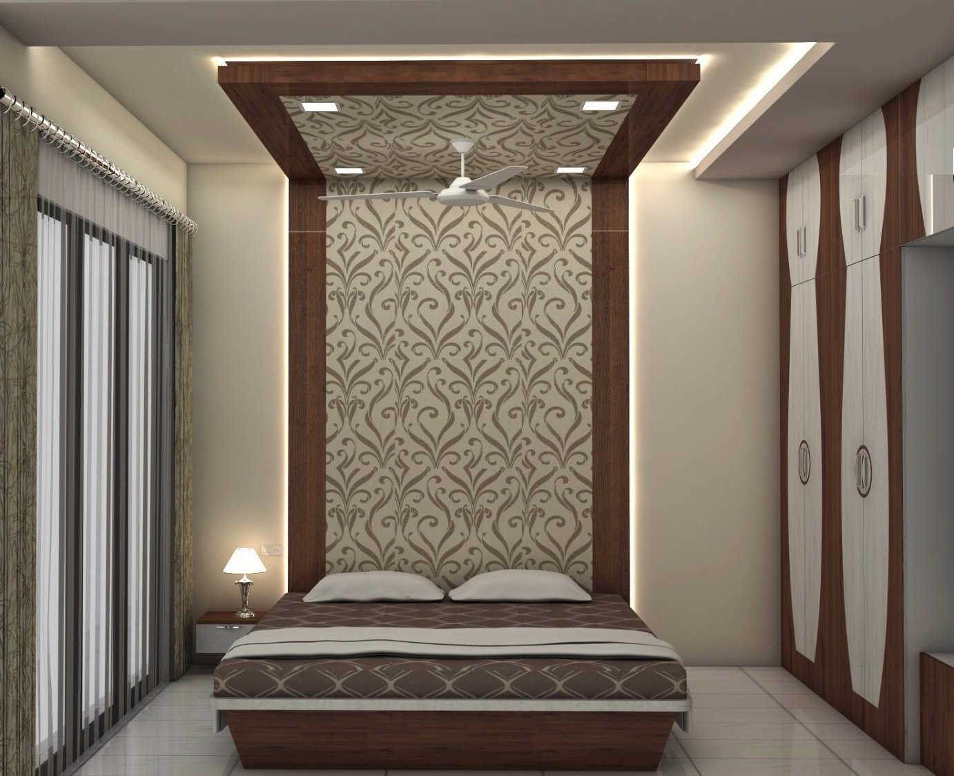 Bedroom with wallpaper by Talha Naim Momin Modern | Interior Design Photos & Ideas