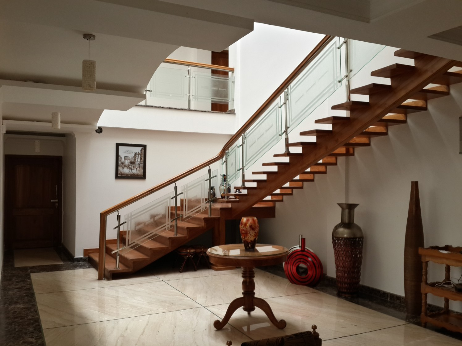 Staircase With Marble Flooring by Prashant Ghosh Contemporary | Interior Design Photos & Ideas